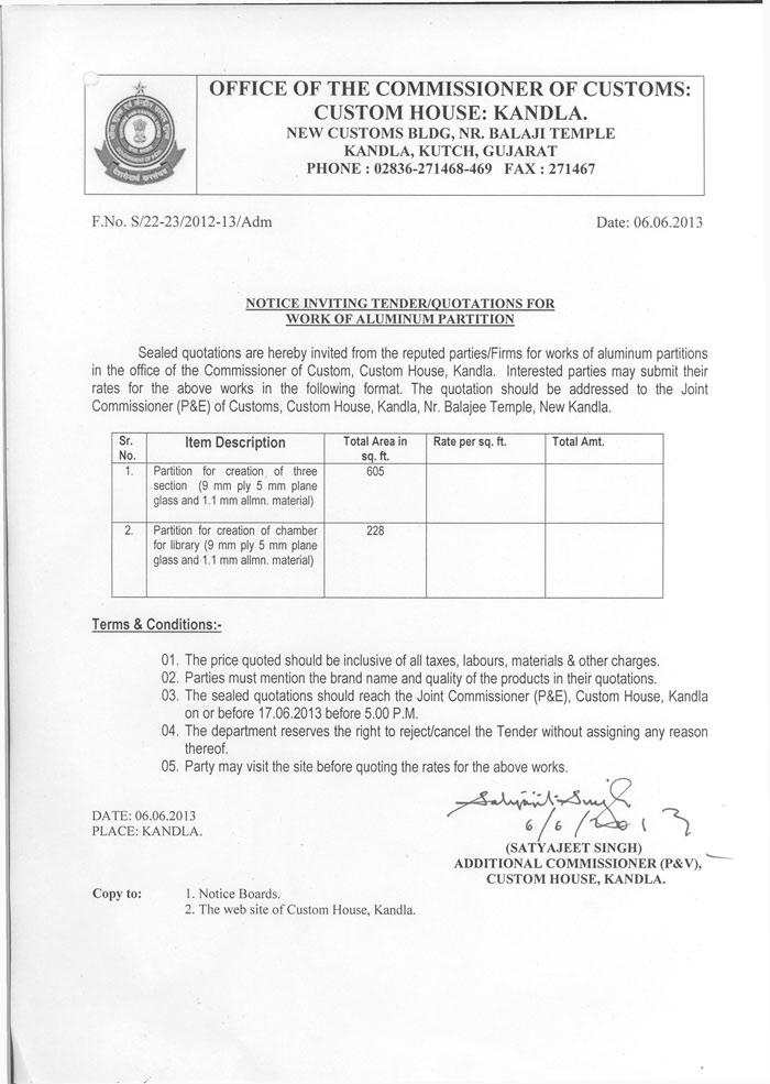 Kandla Customs Tender Notices
